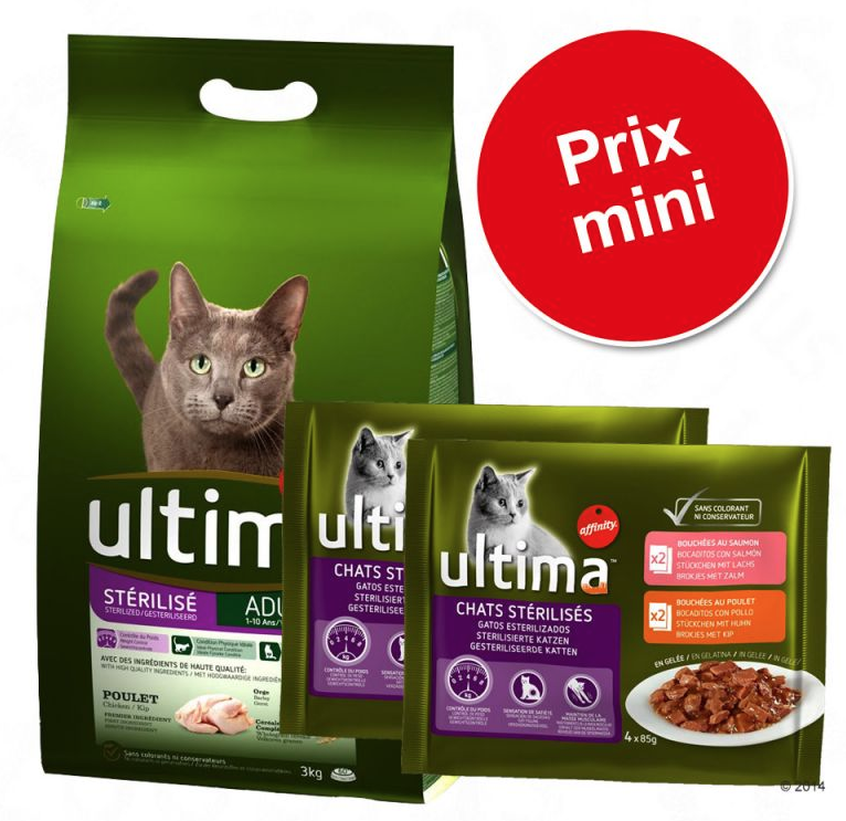 Croquettes Affinity Ultima 7,5 kg + sachets 4 x 85 g offerts ZooPlus