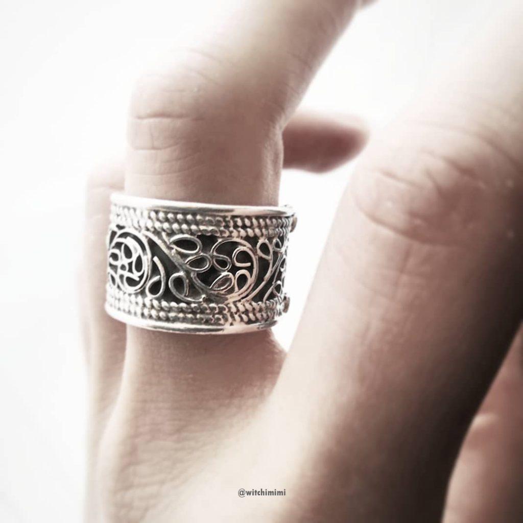 Bague anneau large filigranes argent 925 - Népal 002 (Taille réglable 56 à 60)