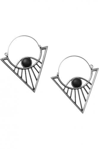 NEW-WITCH-Boucles-oreilles-style-Inca-metal-perle-noire-matte-KILLSTAR-17252-Eye-See-Earrings